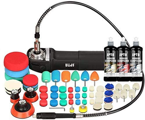 SPTA Mini Polishing Machine RO Rotary Polisher Detailing Polishing with 54Pcs Detail Polishing Buffing Pad Mix Size Kit & Rubbing Compound Polishing Sets and Flexible Shaft for Car Detailing Polishing