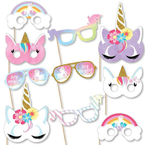 Unicorn Photo Props (Set of 10)