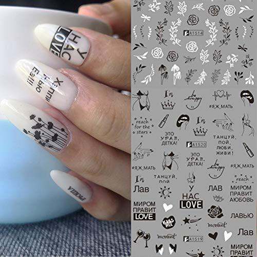 LLMTF 12 Arten Schwarz Weiß Blatt Nail Art Sticker Slider Russische Brief Sexy Girl Nail Sticker Set Dekor Wasserzeichen TattooNagelaufkleber