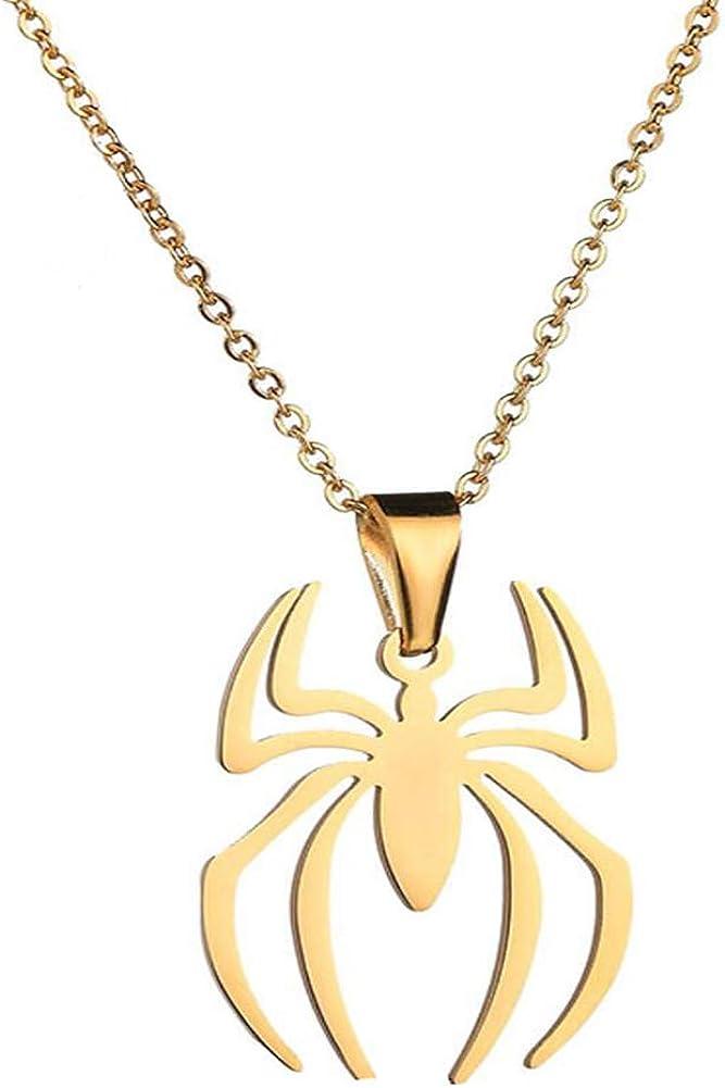 RZCXBS Spider Pendant Necklace Stainless Steel Lightweight Spiderman Charm Jewelry for Kids Women Boys Girls