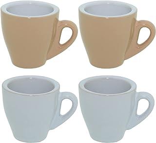 CREOFANT Lot de 4 tasses à expresso – Tasses pastel – Tasses à café – Tasses à café en céramique – Gobelets pastel (marron...