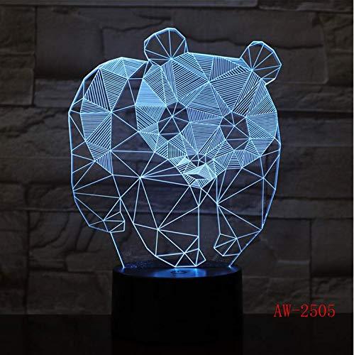 Rutschen Geschenk Niedliche Panda 3D Nachtlicht Kreative Elektrische Täuschung 3D Lampe LED 7 Farbwechsel USB Schreibtisch Lampe Für Kindergeschenk