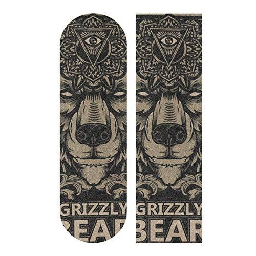 Skateboard Griptape Blatt 83 x 22,9 cm – Beast Grizzly Bear Flower Sandpaper für Rollerboard Longboard Griptape blasenfreies Griptape für Rollerboard