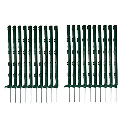 Ellofence 20 Stück Weidezaunpfähle grün Kunststoff, Gesamthöhe 70cm, verzinkter Bodennagel