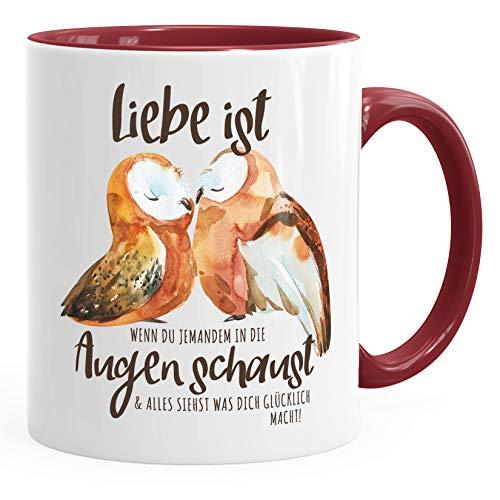 MoonWorks® Tasse Liebe ist wenn du jemanden in die Augen schaust Eule Liebe Geschenk Spruch Liebespruch Kaffee-Tasse bordeauxrot unisize