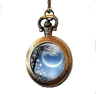 HE PING - Collana con orologio da tasca con solstizio invernale, con nuova luna, orologio da tasca per solstizio