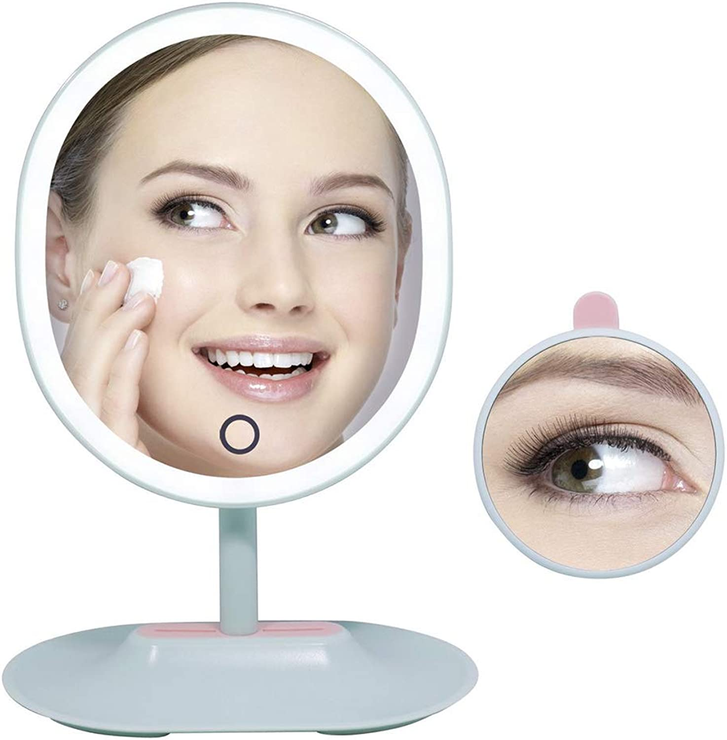 DSstyles Fascinate Desktop LED Makeup Mirror Adjustable Lens Magnifying Glass Green