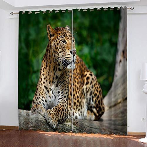 WLHRJ Cortina Opaca en Cocina el Salon dormitorios habitación Infantil 3D Impresión Digital Ojales Cortinas termica - 264x160 cm - Leopardo Animal del Bosque