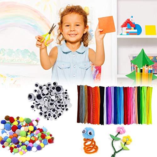 Komplettes Kit für Heimwerkerbedarf für Kinder mit 100 PCS-Pfeifenreinigern 150 PCS Wiggle Googly Eyes und 250 PCS Pom Poms für Basteldekorationen zum Selbermachen