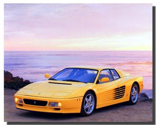 Wall Decor Yellow Ferrari Testarossa Transportation Old Car Art Print Poster (16x20)