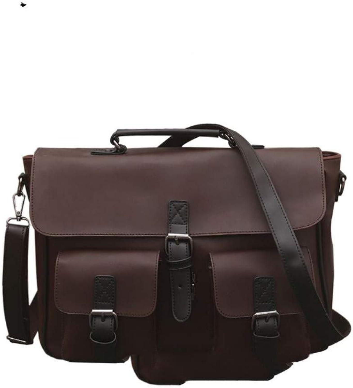 KJAGSJ Business Männer Aktentasche Hohe Qualität Schnalle PU Leder Schultertasche 14 Zoll Laptop Tasche Tragbare Braune Handtasche B07PPCV4K1