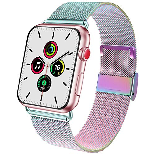 ADWLOF Compatible for Apple Watch Bands 38mm 40mm, Stainless Steel Mesh Magnetic Sport Wristband Loop Strap Replacement Band for iWatch Series 6/5/4/3/2/1/SE,Colorful