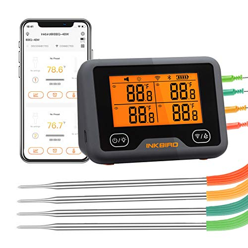 Inkbird Wi-Fi&Bluetooth Grill Thermometer IBBQ-4BW, Wireless Meat Thermometer with 4 Probes, Timer, High/Low Temp Alarm, WiFi Meat Grill Thermometer for Smoker, Oven, Kitchen, Drum, Android&iOS