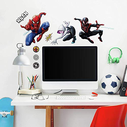 RoomMates Spider-Man Miles Morales - Vinilo decorativo para pared, color negro, rojo, azul, morado