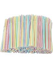 Xyedyaup 600 stuks bubble thee bekers stro dikke kinderen rietjes kleurrijke drinkrietjes cocktailparaplu's herbruikbaar stro flexibele gebogen rietjes voor feestjes bar dranken bruiloften rietjes