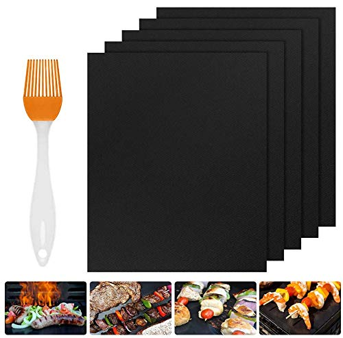 Nasharia BBQ Grillmatte 5er Set, 100% Antihaft BBQ Grillmatten Backmatte mit 1 Silikon Bürste zum Grillen und Backen für Kohle-, Elektro- & Gasgrills, Wiederverwendbar, PFOA-frei, 40x33 cm, Schwarz