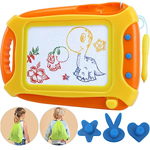 Wellchild Magnetic Drawing Board for Toddlers,Travel Size Toddlers Toys A Etch Toddler Sketch Colorful Erasable with One Carry Bag Boys Girls Age of 3 4 5 6