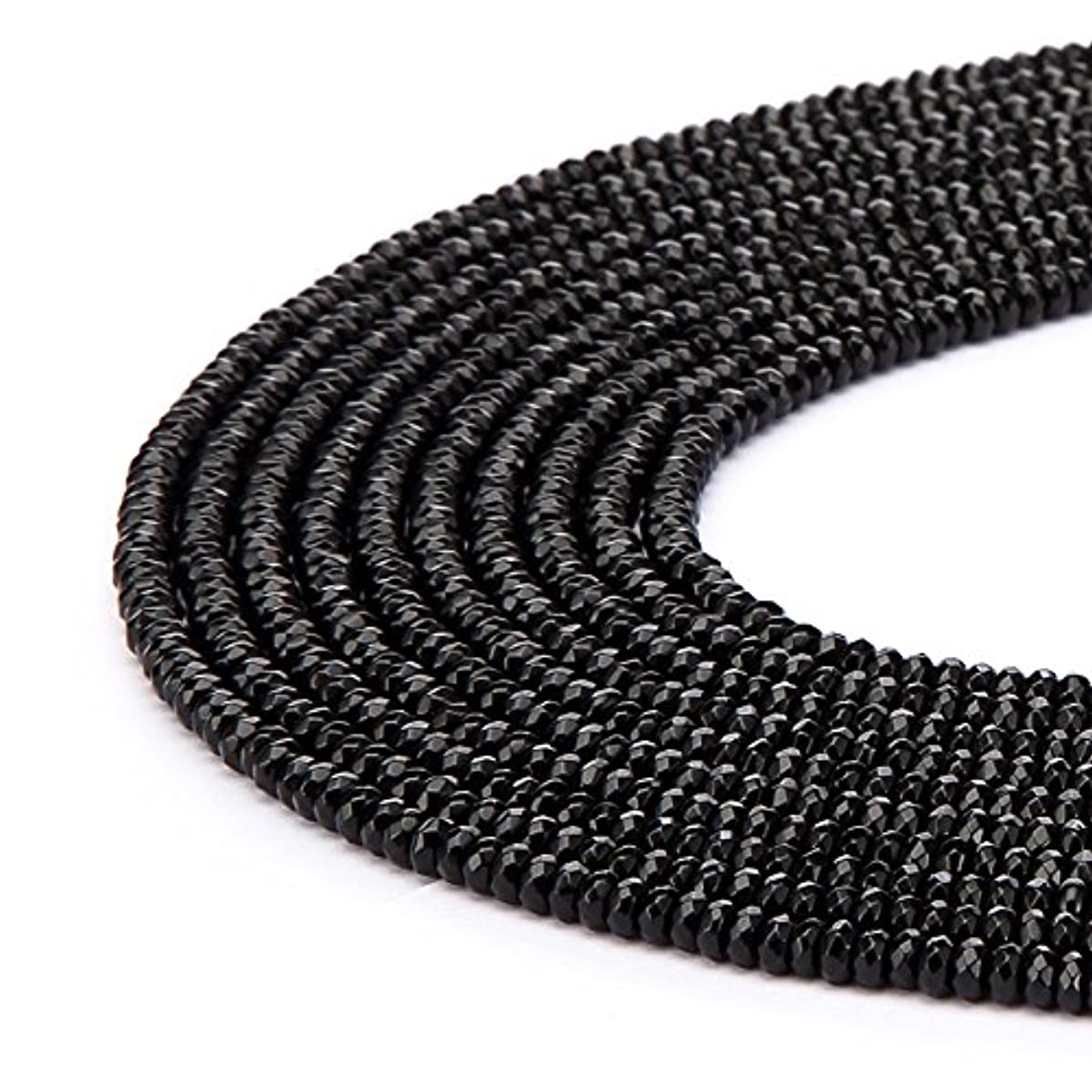 BRCbeads Black Onyx Gemstone Faceted Rondelle Loose Beads 5x8mm Approxi 15.5 inch 80pcs 1 Strand per Bag for Jewelry Making