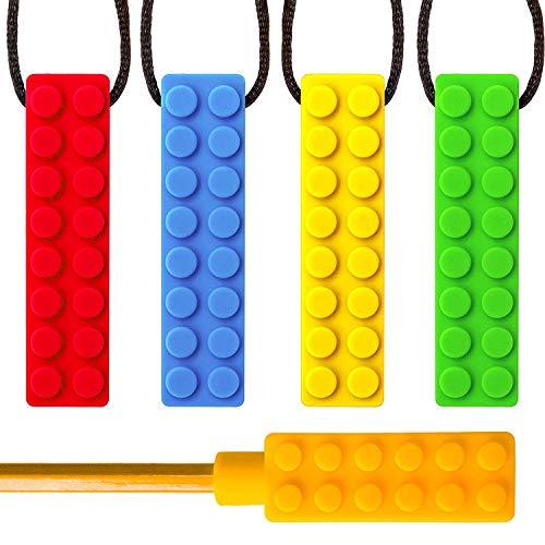 Sensory Chew Halskette mit Bonus-Bleistift Topper TYRY.HU Set Beißring Silikon Kauen Anhänger perfekt für Autismus ADHS SPD Oral Motor Zahnen und Beißen braucht Tough und langlebig (5 Packs)