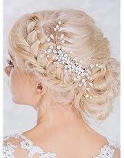 Aukmla Copricapo nuziale di strass, fermaglio per capelli per capelli con perline e strass per donne e ragazze