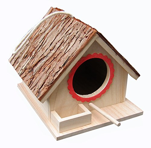 Baumrinddach Vogelfutterhaus, Vogelnistkasten, für große Vögel wie Nymphensittich, Wellensittich, Wellensittich, Taube sowie kleine Vogelbrutvogelarten, Bluebirds etc