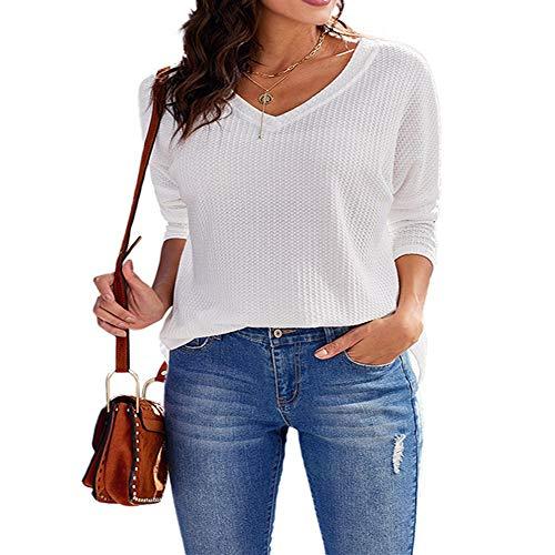 NOBRAND camiseta de manga larga suelta con cuello en V versátil de color sólido