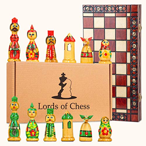 Scacchiera in Legno Professionale Scacchi con matrioska Legno - Chess, Scacchiere Set Portatile Gioco da Viaggio per Adulti Bambini (Scacchi intagliati a Mano, 40x40 cm)