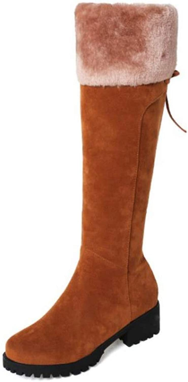 Hoxekle Women Knee High Boots Winter Warm Mid Heel Boots Thick Faux Fur Side Zipper Round Toe Back Knot Ladies shoes