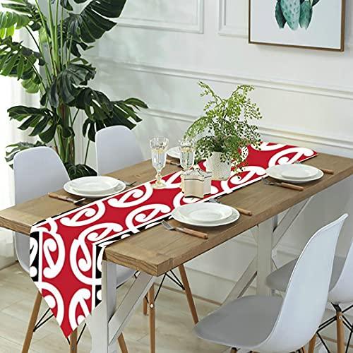 Reebos Camino de mesa de lino para aparador, bufandas Maori Kowhaiwhai para mesa de cocina, para cenas de granja, fiestas de vacaciones, bodas, eventos, decoración, 33 x 70 pulgadas