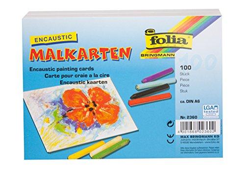 folia 2360 - Encaustic - Malkarten, DIN A6, 100 Stück, stark verdichtetes, sehr glattes Spezialpapier für die Wachsmaltechnik