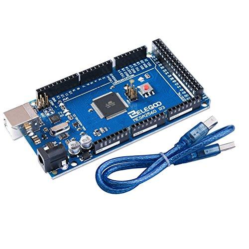 ELEGOO Mega2560R3 Mikrocontroller Board mit ATmega2560 USB Kabel in Blau Kompatibel mit Arduino IDE