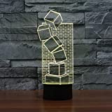 Solo 1 pieza 3D IllusionLED Lámpara de mesa Touch Cool Style Night Light Navidad Broma Regalos Vacaciones románticas Cute Cre Gadget