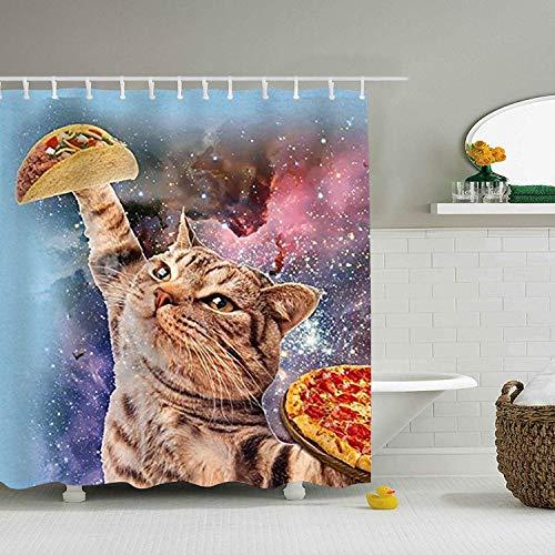 Duschvorhang Pizza Galaxy Cat 3D-Druck Mutter Geschenkideen Polyester Stoff Haken enthalten, Multi