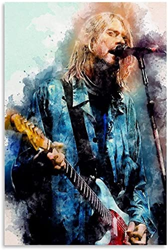Puzzle 1000 Piezas Adultos Niños Rompecabezas Kurt Cobain acuarela famoso guitarrista y cuadro moderno 120 Piece 9.8x7.8inch(25x20cm) Sin Marco