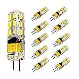 Pocketman Paquete de 10 2 Watt AC/DC 12V G4 Bombillas LED Equivalente a la lámpara halógena de 20W, 6000k Luz fría