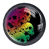 Kitchen Cabinet Knobs - Mystical Fantasy Weird Creepy Skull - Knobs for Dresser Drawers for Cupboard,Wardrobe,Bathroom or Office - Pack of 4