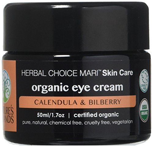 Organic Eye Cream by Herbal Choice Mari (1.7 Fl Oz Glass Jar) - No Toxic Synthetic Chemicals