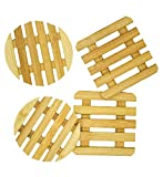 Salvamanteles de Bambú Individuales 4 piezas diseño cuadrado, diseño...