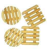 sottopentola in bambù, 4 pezzi, design quadrato, rotondo, 100% ecologico, 15 x 15 x 1 cm.