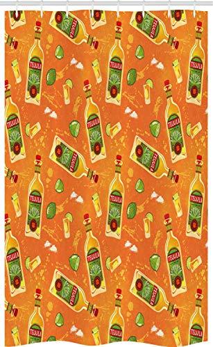 ABAKUHAUS Tequila Douchegordijn, Ontsproten Glazen flessen Limes, voor Douchecabine Stoffen Badkamer Decoratie Set met Ophangringen, 120 x 180 cm, Orange Olive Green