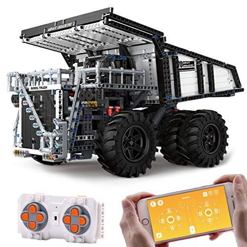 Oeasy Technik Muldenkipper Ferngesteuert, Technik Großmuldenkipper LWK mit 4 Motoren, 2044 Klemmbausteine Kompatibel mit Lego Technic