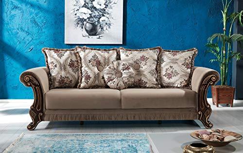 Schlafsofa Kippsofa Sofa Samt mit Schlaffunktion Klappsofa Bettfunktion mit Bettkasten Couchgarnitur Couch Sofagarnitur - Pasa Beige