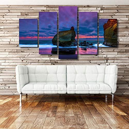 GIAOGE Pinturas HD Modular Impreso Lienzo Pared para Sala de Estar 5 Panel Hermoso Paisaje con Vistas al mar Cuadros de Piedra Marco Cuadros Pinturas,40x60 40x80 40x100cm,Frame