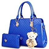 Women's Satchel Handbags Royal Blue Patent Unique Purse Hobo Tote Bag For Women - Pocketbook With Wallet Ladies Shoulder Bag