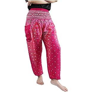 Lofbaz Women's Peacock Print Smocked Waist Harem Pants Pink B 4XL