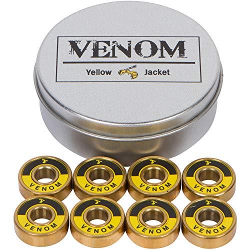 Yellow Jacket Premium Skateboard Bearings – Titanium Coated, Ceramic Balls – Pro Longboard Bearings – High Speed, Precision for Skateboards, Longboards, in-Line Skates – Pack of 8 (Gold Venom)