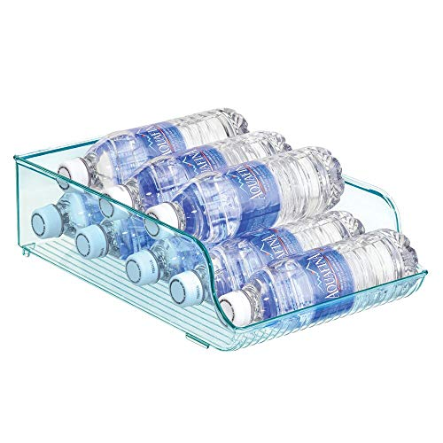 mDesign Wide Plastic Kitchen Water Bottle Storage Organizer Tray Rack - Holder and Dispenser for Refrigerators, Freezers, Cabinets, Pantry, Garage - Sea Blue