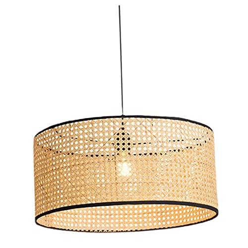 Fenteer Iluminación Colgante de bambú con Pantalla de ratán Japonesa de bambú, lámpara de Granja con cordón Ajustable, lámpara de Techo Decorativa para - Grande 50x23cm