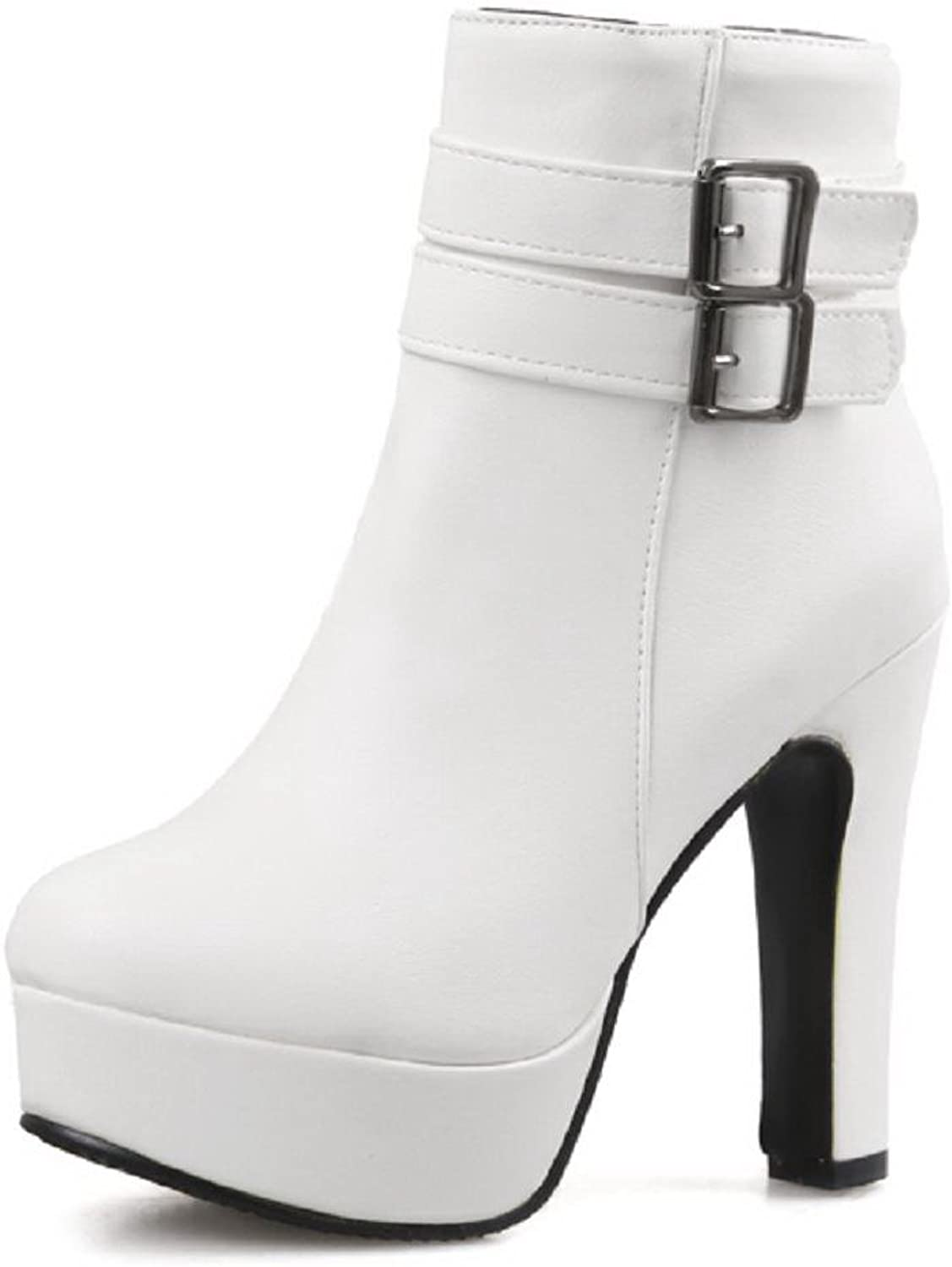 AllhqFashion Women's Solid High Heels Round Closed Toe Pu Zipper Boots with Metal