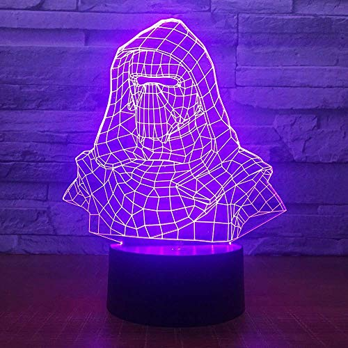 Darth Vader Helm 3D LED Nachtlicht elektrische Täuschungslampe 7 Farbwechsel USB...